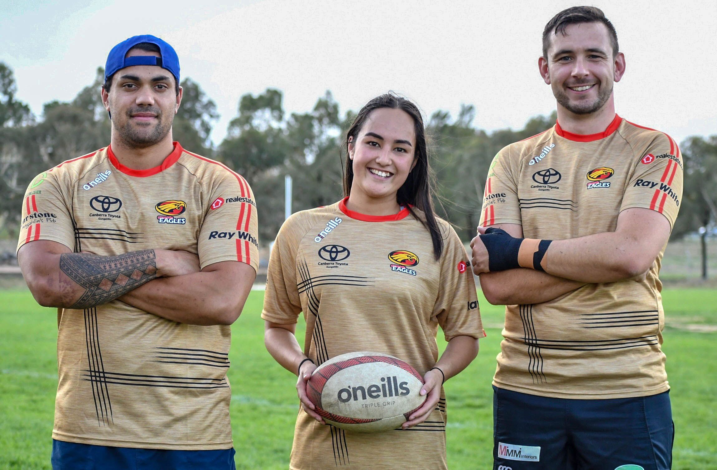 Gungahlin Eagles Club Captains 2020 Stuart Crew, Shaneqwa Lee-Edwards, and Jamie Kotz