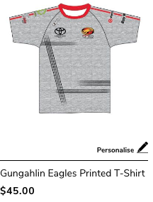 Gungahlin Eagles Printed T-Shirt Grey