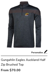 Gungahlin Eagles Auckland Half Zip Brushed Top